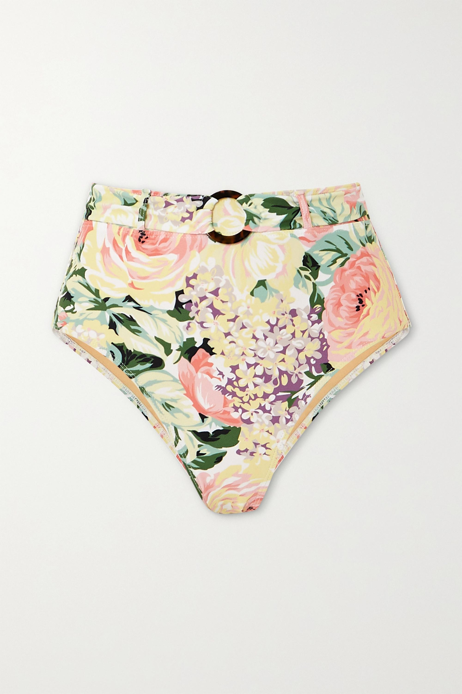 Faithfull The Brand Lavande belted floral-print bikini briefs