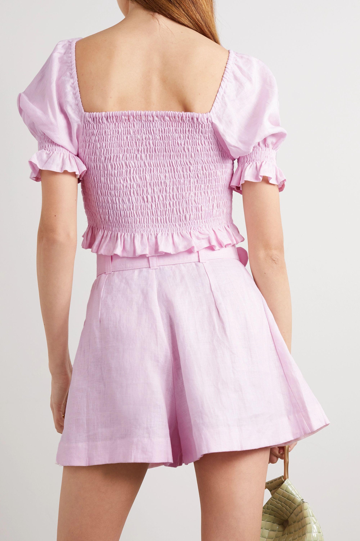 Faithfull The Brand + NET SUSTAIN Priscilla belted linen shorts
