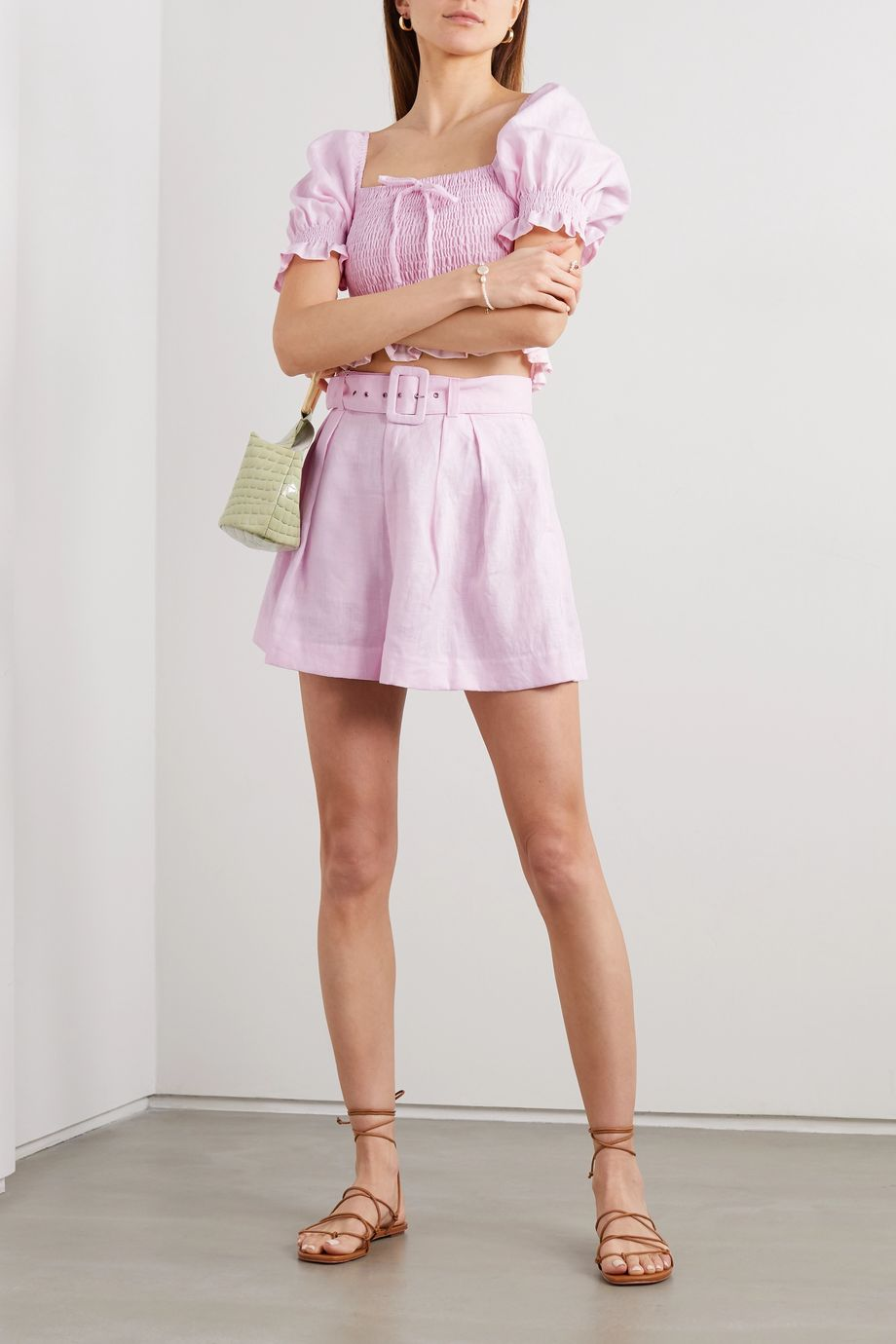Faithfull The Brand + NET SUSTAIN Priscilla belted linen shorts