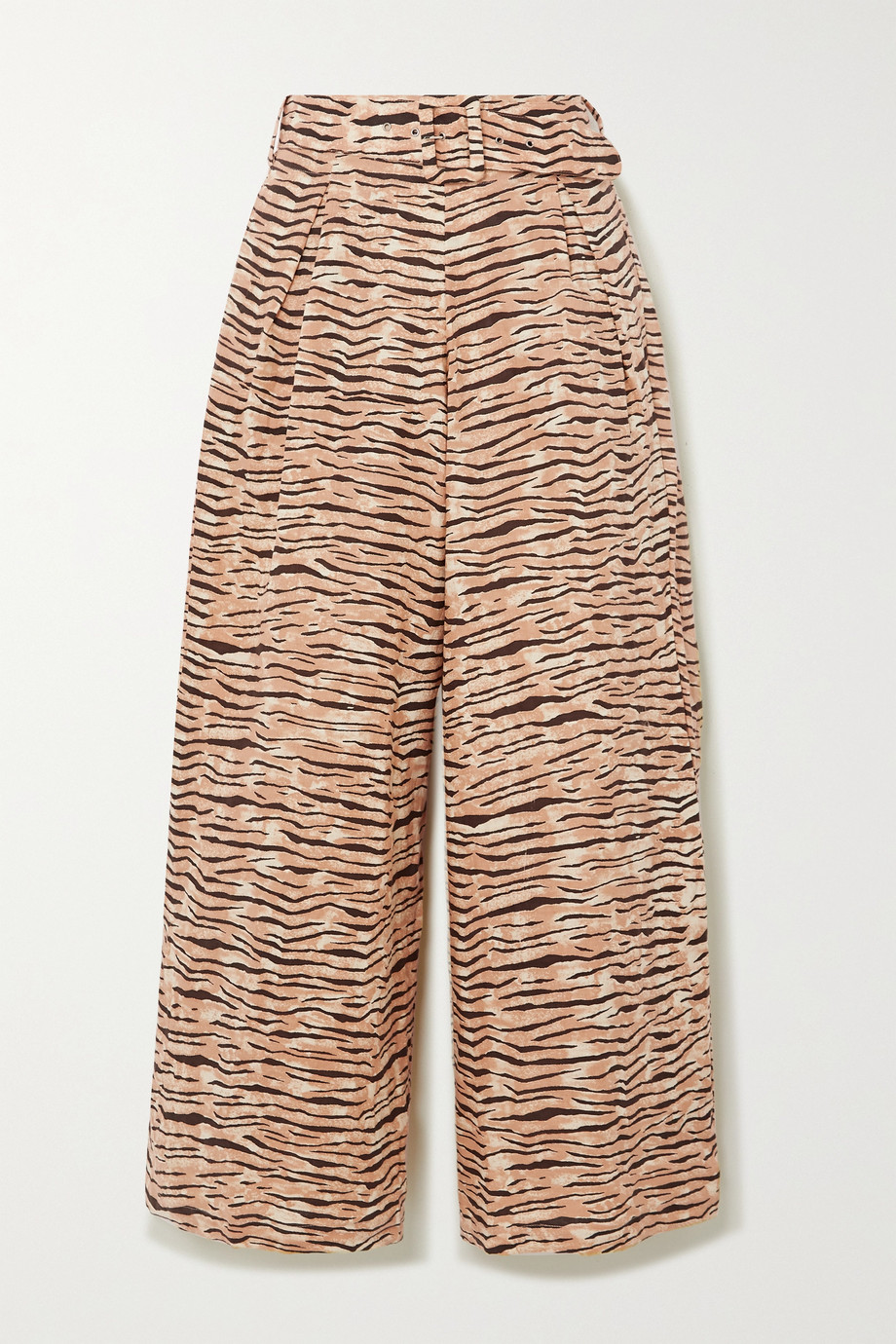 Faithfull The Brand + NET SUSTAIN Lena tiger-print linen wide-leg pants