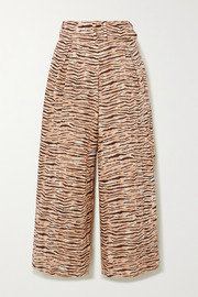 Faithfull The Brand Lena tiger-print linen wide-leg pants
