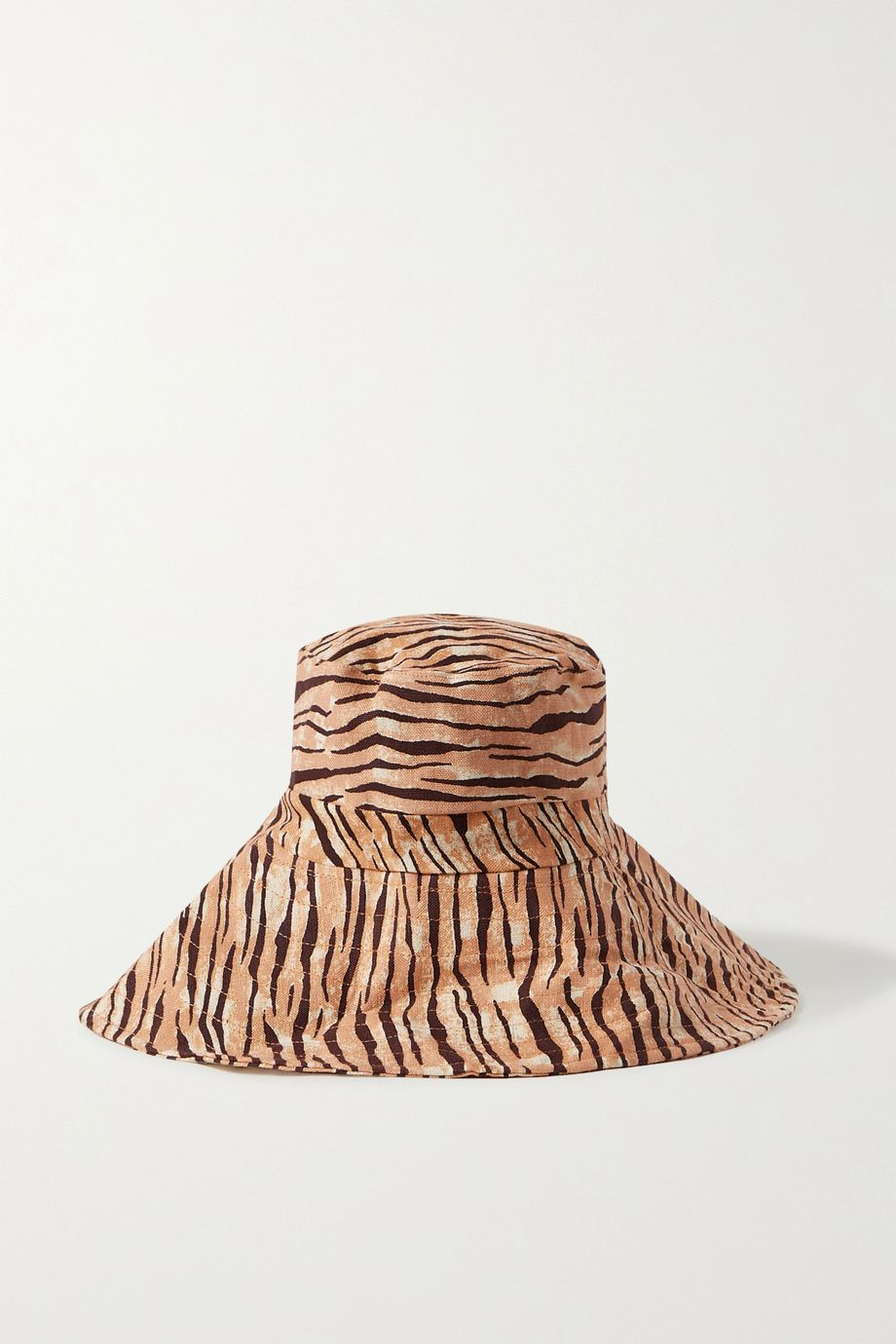 Faithfull The Brand Frederikke tiger-print linen sunhat
