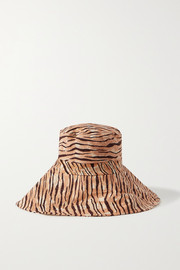 Faithfull The Brand + NET SUSTAIN Frederikke tiger-print linen sunhat