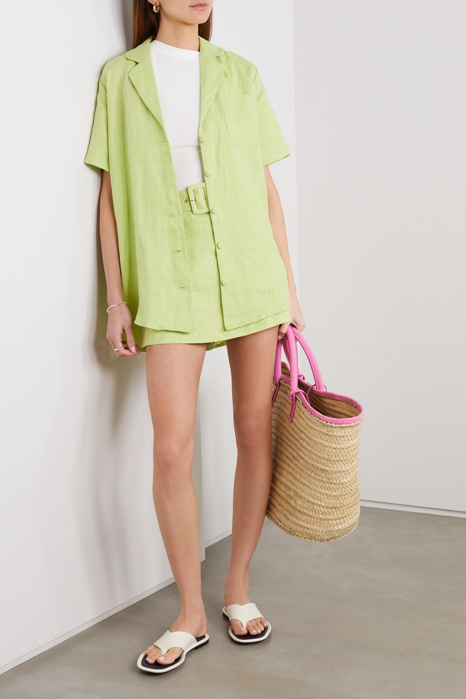 Faithfull The Brand + NET SUSTAIN Celia belted layered linen shorts