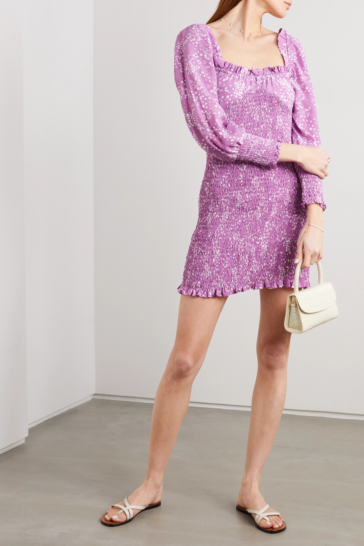 Faithfull The Brand Gombardy shirred floral-print crepe mini dress