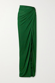 Brandon Maxwell Draped stretch-jersey maxi skirt