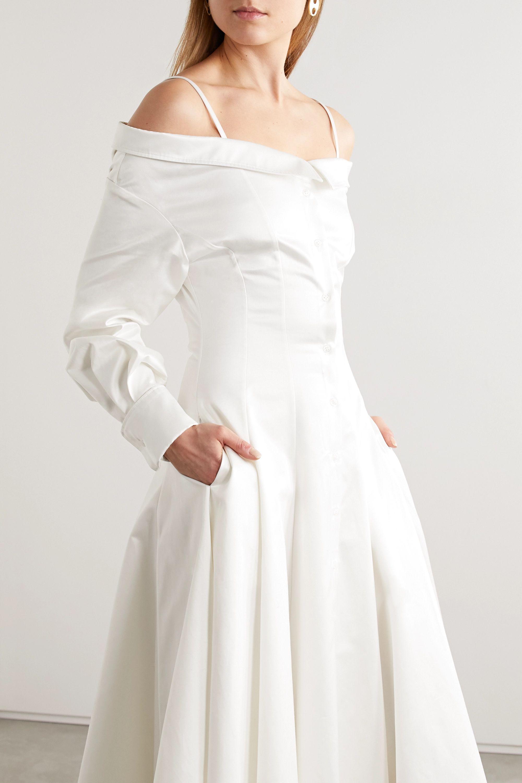 Brandon Maxwell Cold-shoulder cotton midi shirt dress