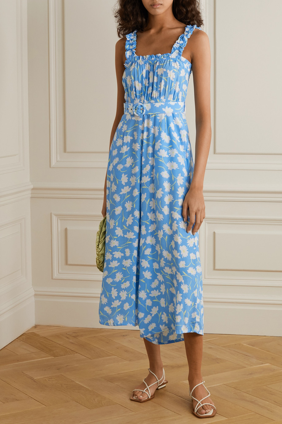 Faithfull The Brand Dolores belted shirred floral-print crepe jumpsuit