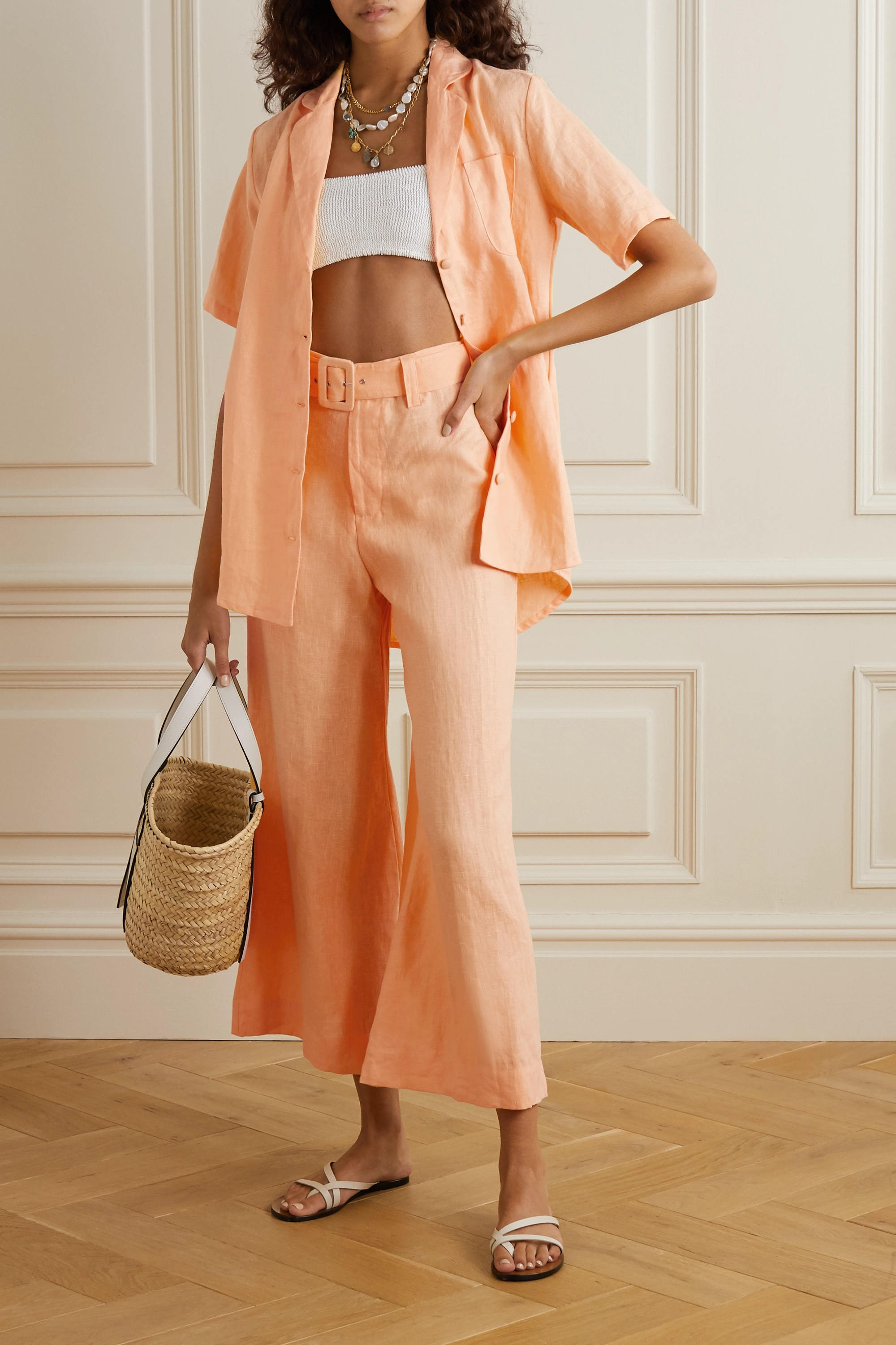 Faithfull The Brand + NET SUSTAIN Rose cropped belted linen wide-leg pants