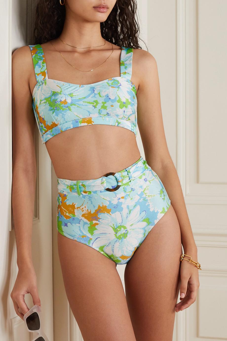 Faithfull The Brand + NET SUSTAIN Lavande Bikini-Höschen mit Blumenprint und Gürtel
