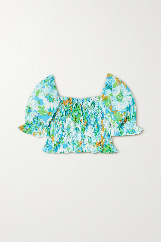 Faithfull The Brand + NET SUSTAIN Lenora cropped shirred floral-print linen top