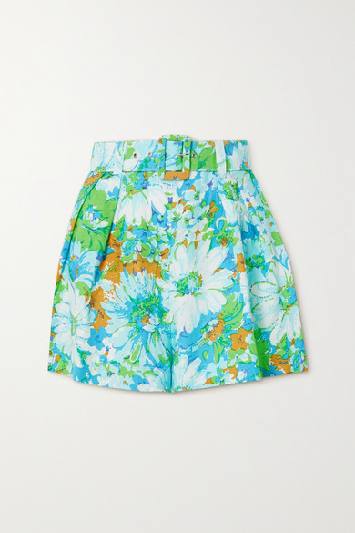 Faithfull The Brand NET SUSTAIN PRISCILLA BELTED FLORAL-PRINT LINEN SHORTS