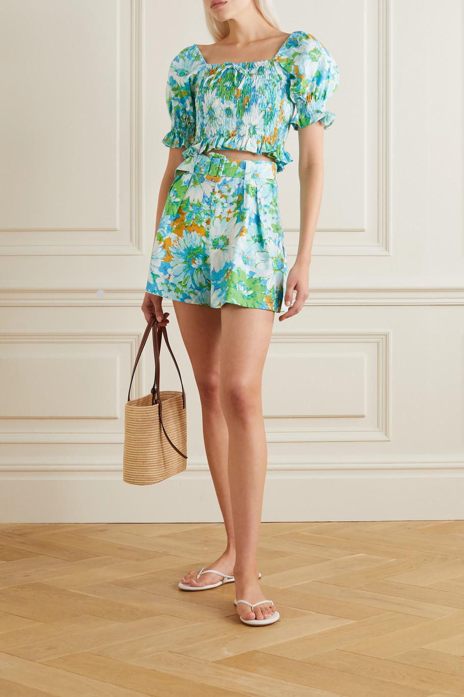 Faithfull The Brand + NET SUSTAIN Priscilla belted floral-print linen shorts
