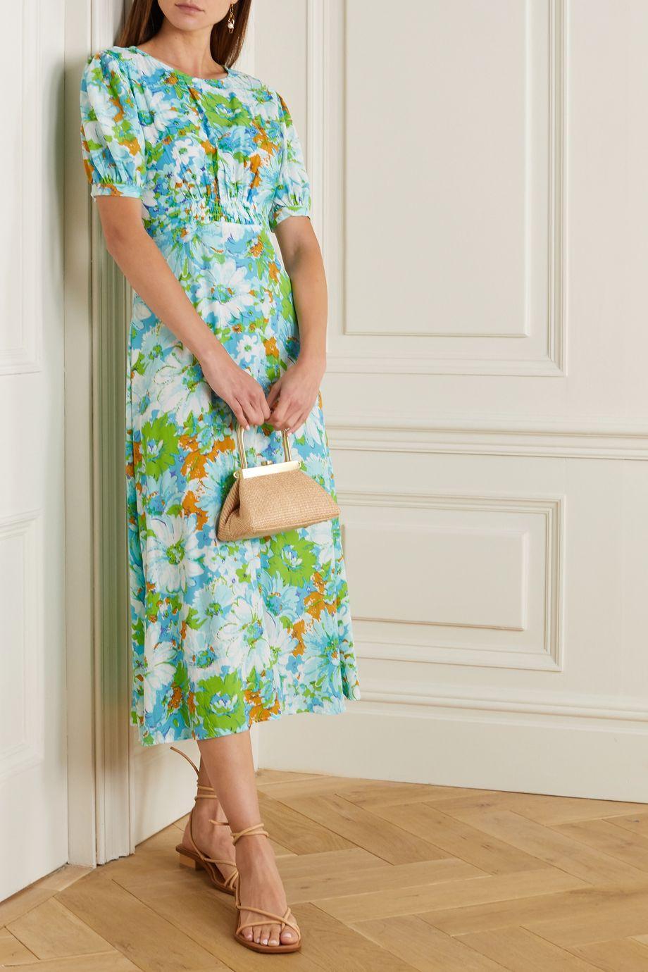 Faithfull The Brand Beline smocked floral-print crepe midi dress