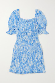 Faithfull The Brand + NET SUSTAIN Magnolia shirred tie-dyed crepe mini dress