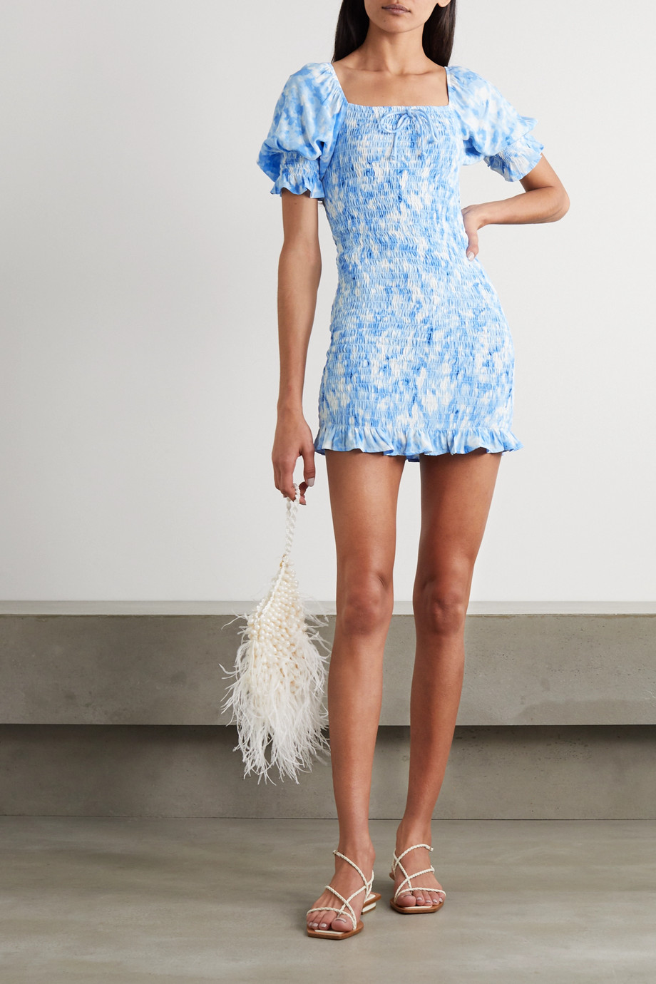 Faithfull The Brand + NET SUSTAIN Magnolia shirred tie-dyed crepe mini dress