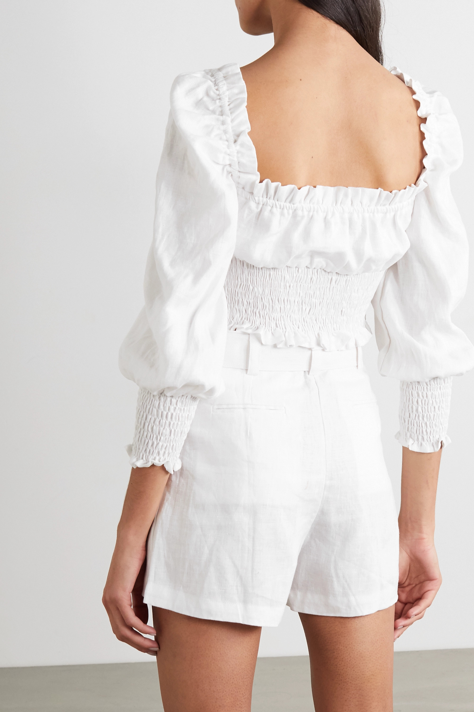 Faithfull The Brand + NET SUSTAIN Bel Rose cropped shirred linen top
