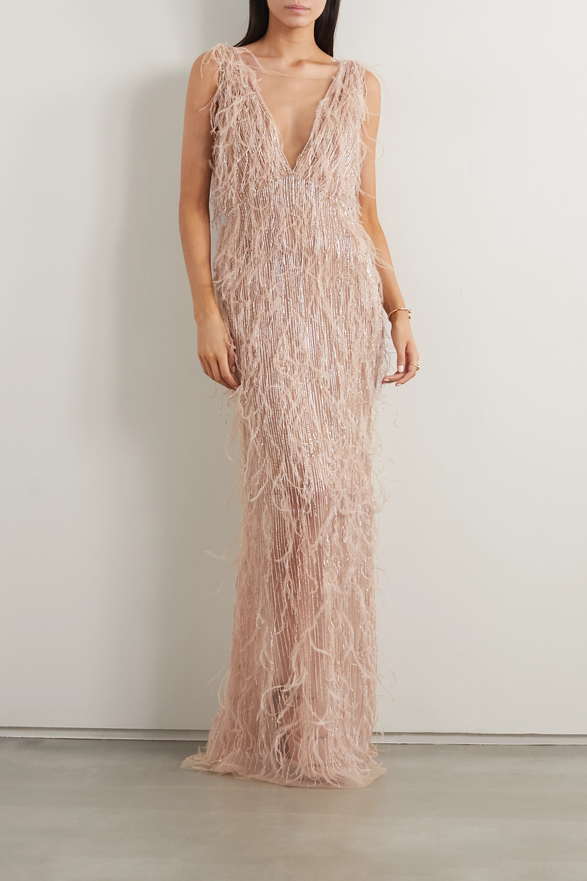 Marchesa Feather-trimmed embellished tulle gown