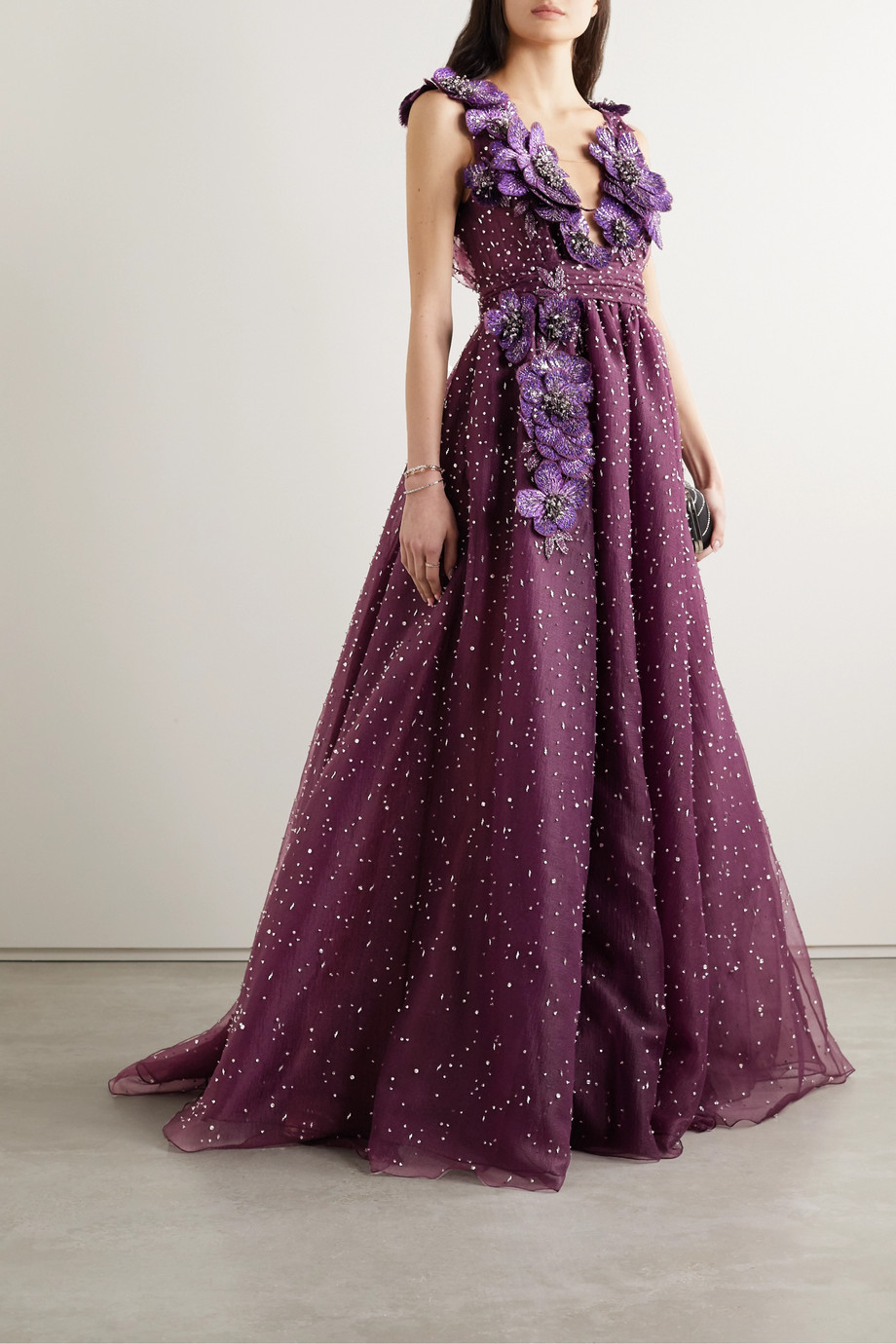 Marchesa Appliquéd embellished crinkled-organza gown
