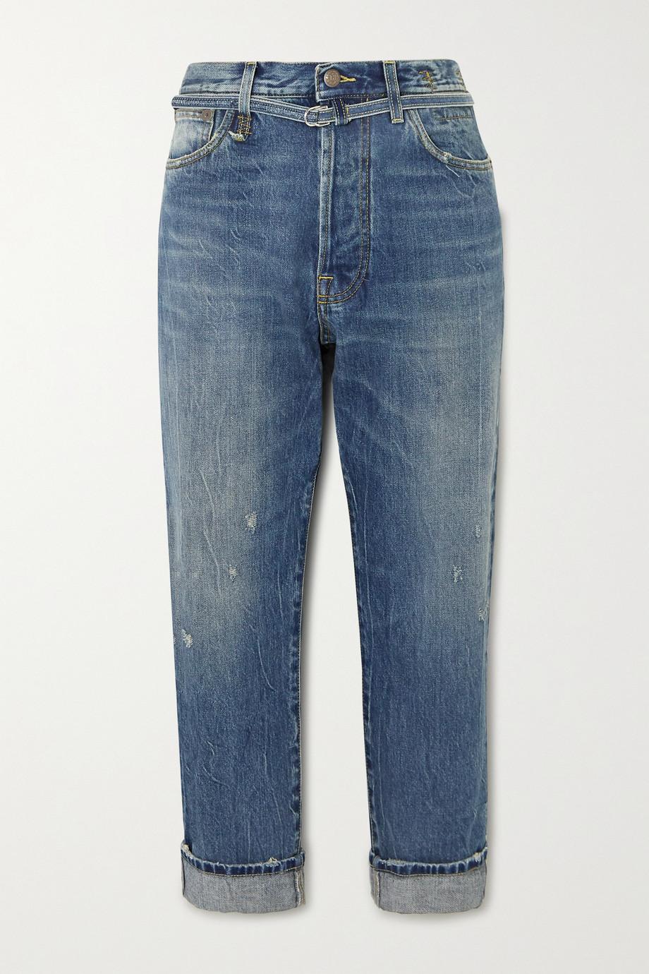 R13 Hayden Paperbag belted high-rise straight-leg jeans