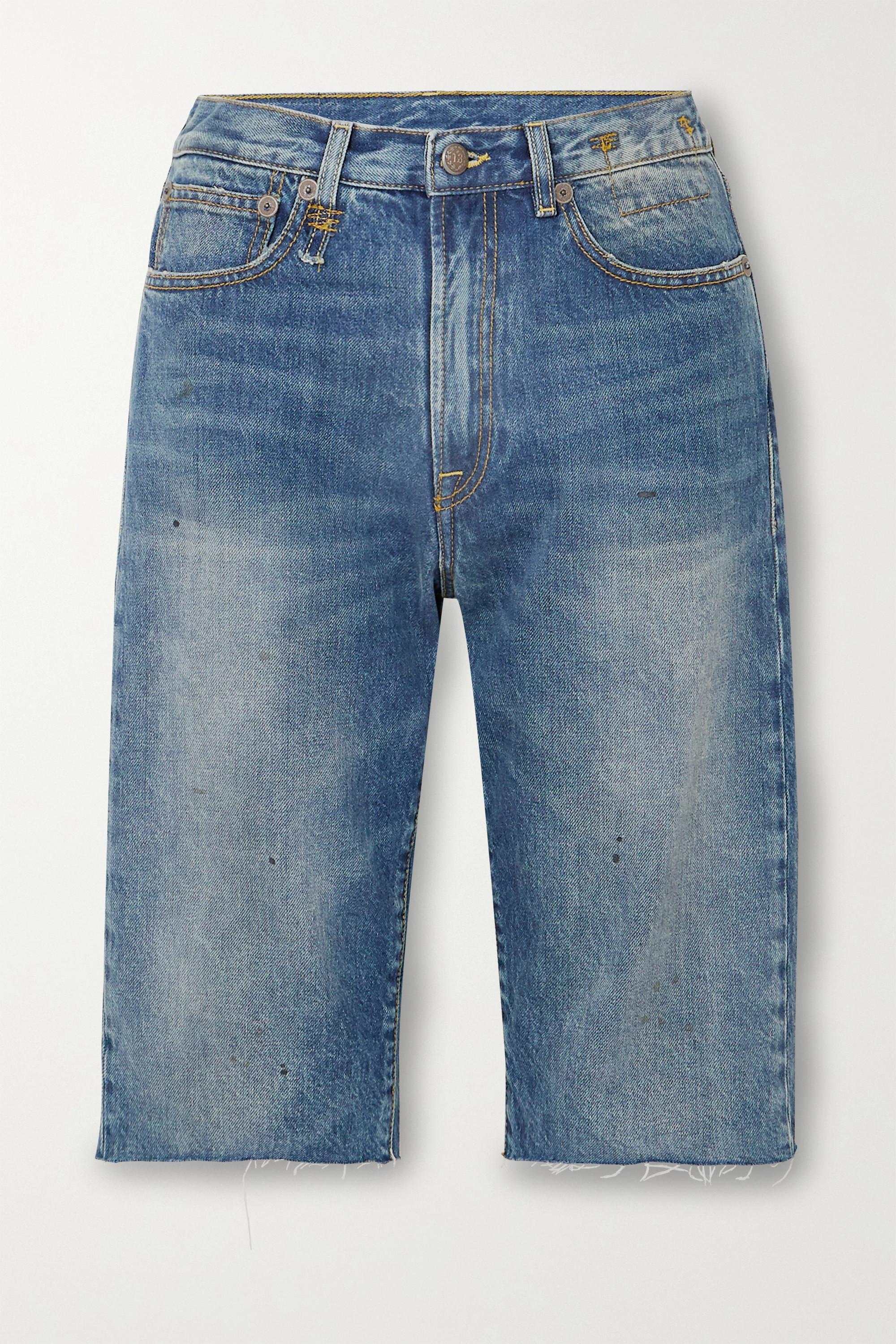 R13 Axl distressed denim shorts