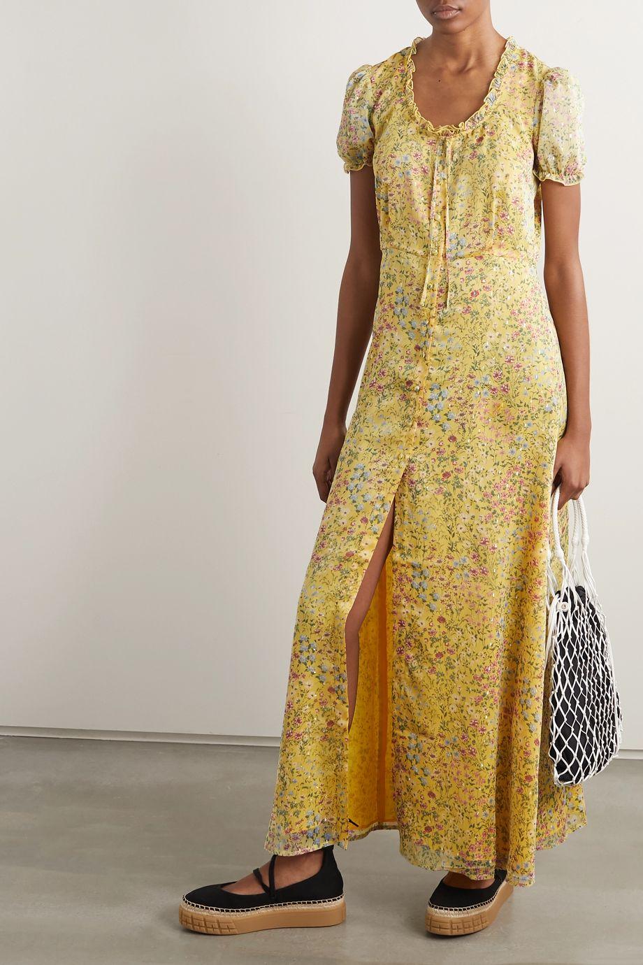 R13 Ruffled floral-print fil coupé georgette maxi dress