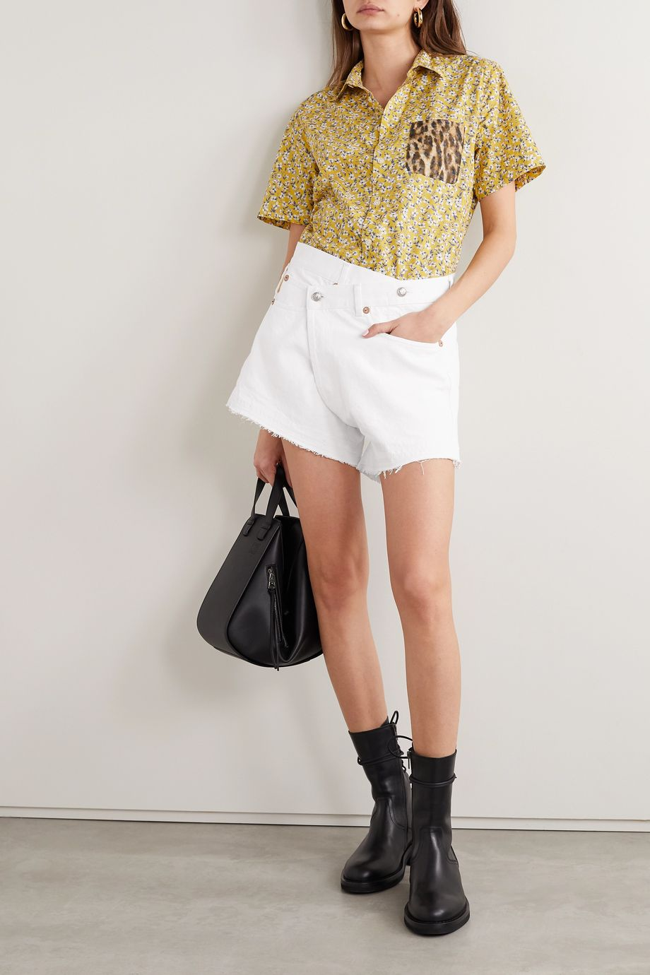 R13 Crossover asymmetric denim shorts
