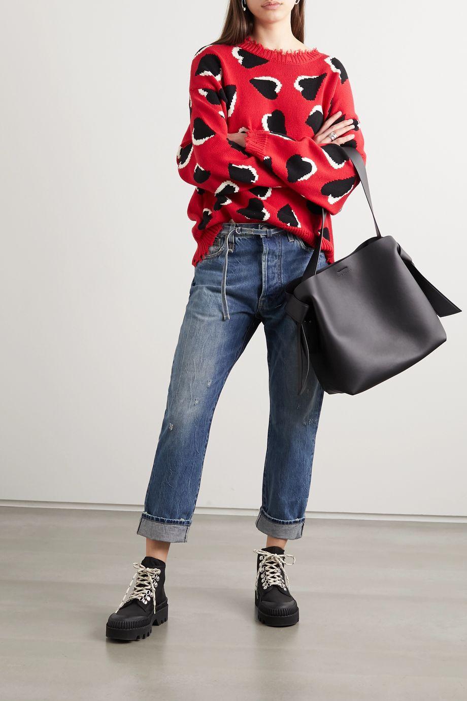 R13 Oversized distressed intarsia cotton sweater