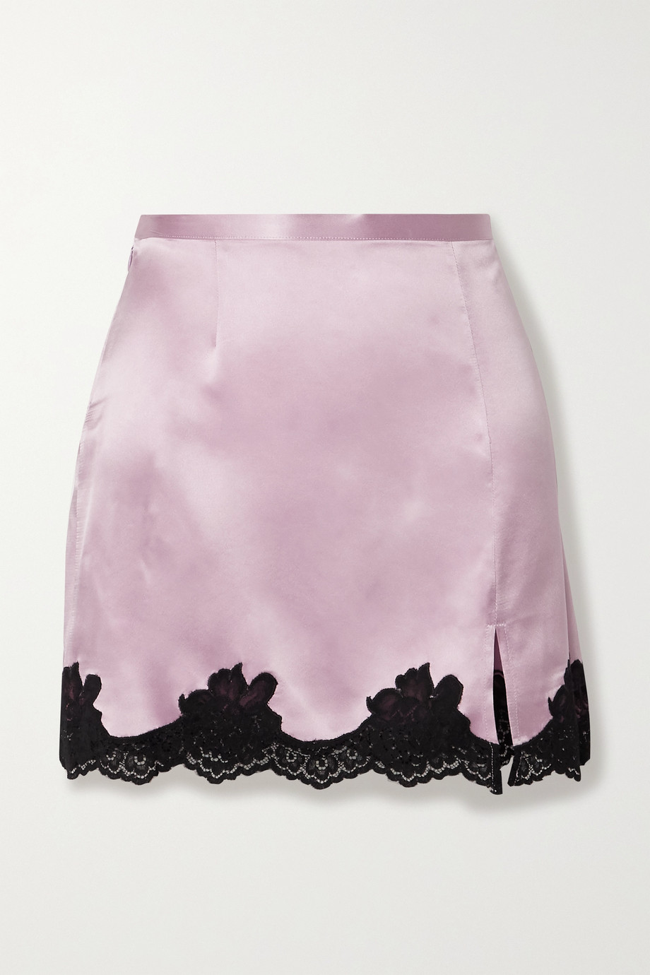Fleur du Mal James lace-trimmed silk-satin mini skirt