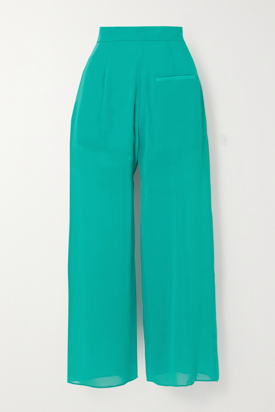 Fleur du Mal Margo lace-trimmed silk-chiffon wide-leg pants