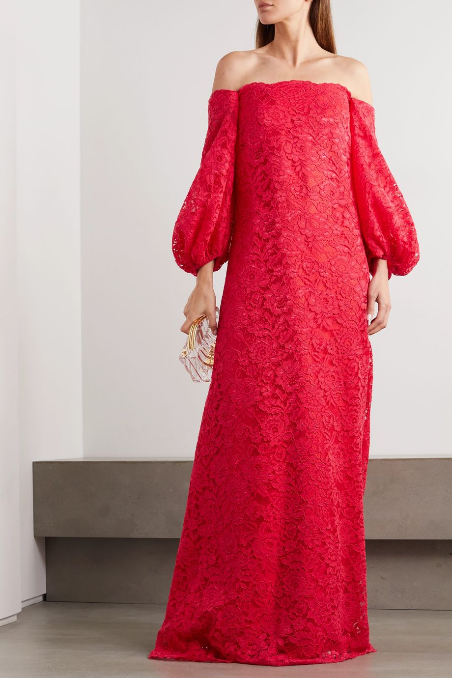 Reem Acra Off-the-shoulder satin-trimmed corded lace gown