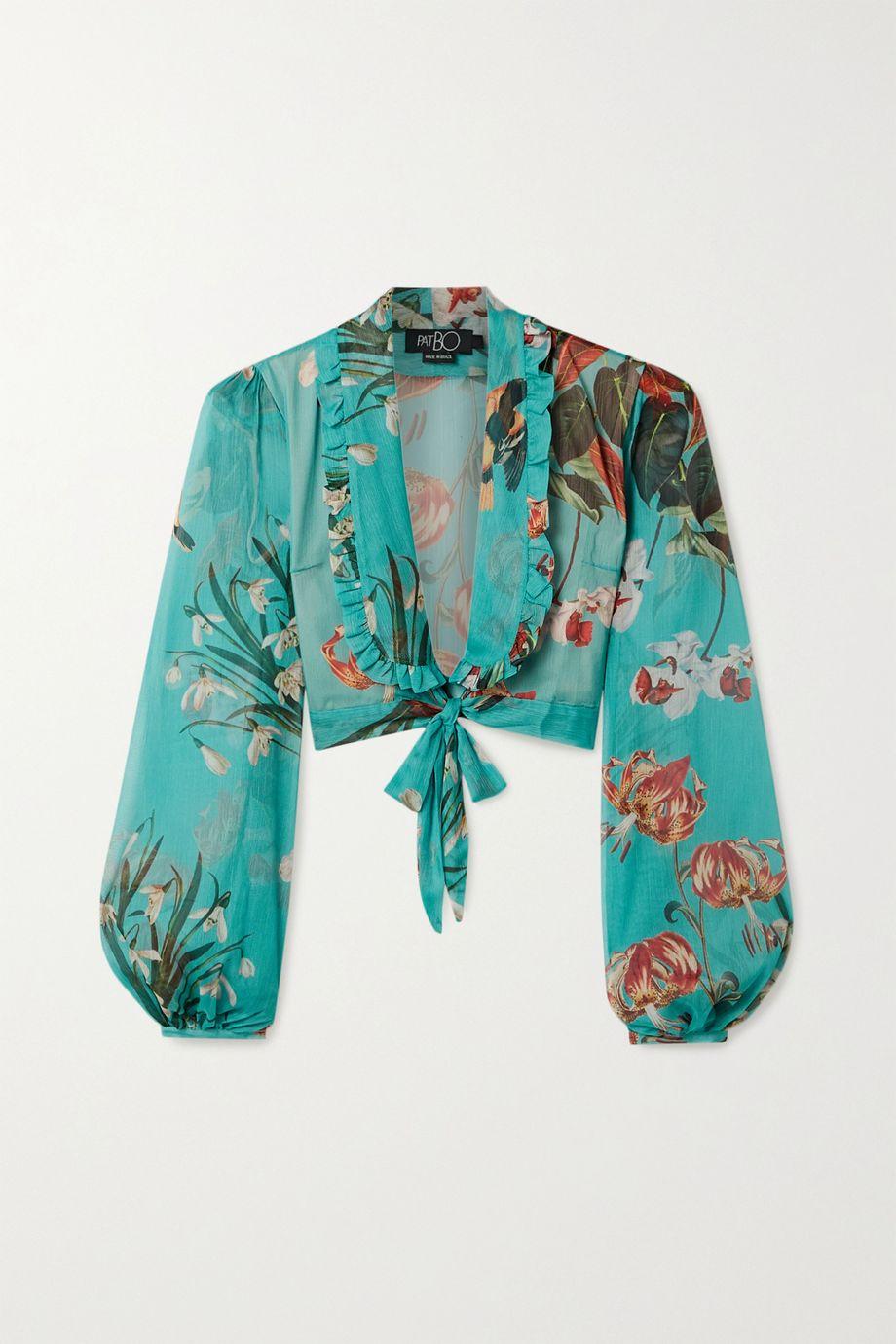 PatBO Carolina cropped tie-front floral-print chiffon top