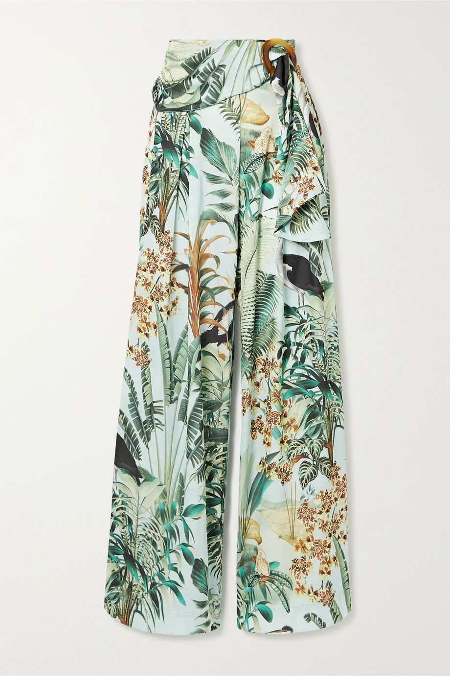 PatBO Eden belted pleated printed satin wide-leg pants