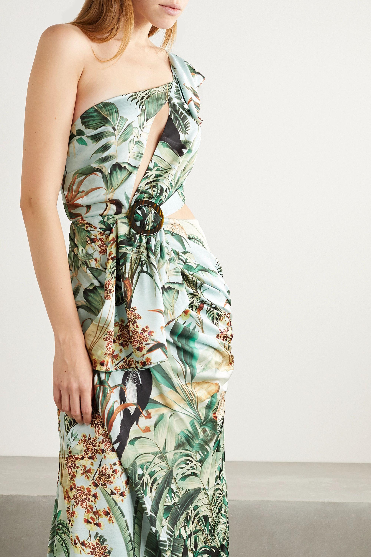PatBO Eden cutout one-shoulder printed satin maxi dress