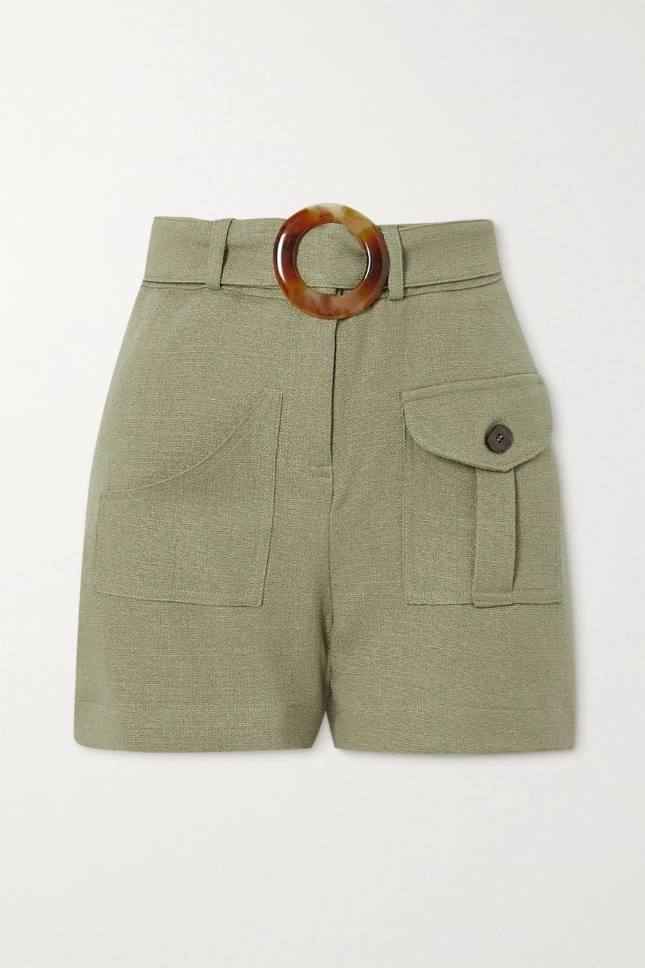 PatBO Belted gauze shorts