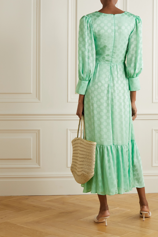 Mint Belted Polka-dot Satin-jacquard Midi Dress | Patbo