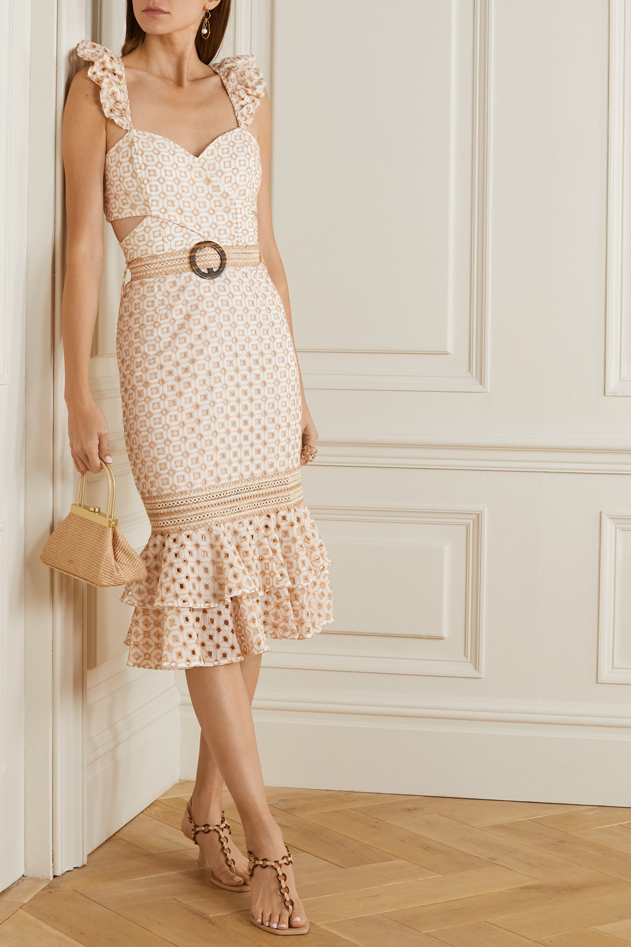 PatBO Belted broderie anglaise cotton-blend midi dress