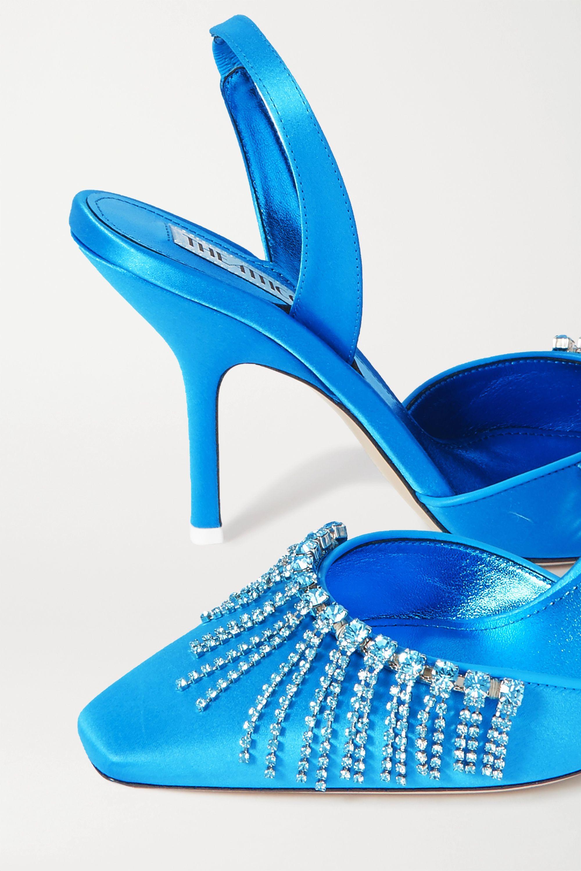 The Attico Mara crystal-embellished satin slingback pumps