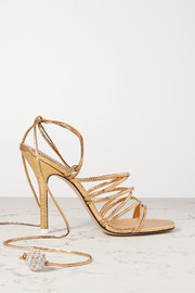 The Attico Eve crystal-embellished metallic lizard-effect leather sandals