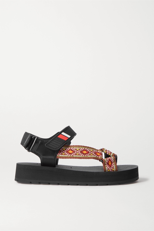 Prada Nomad Sandalen aus Canvas und Gummi mit Lederbesätzen und Logoprint