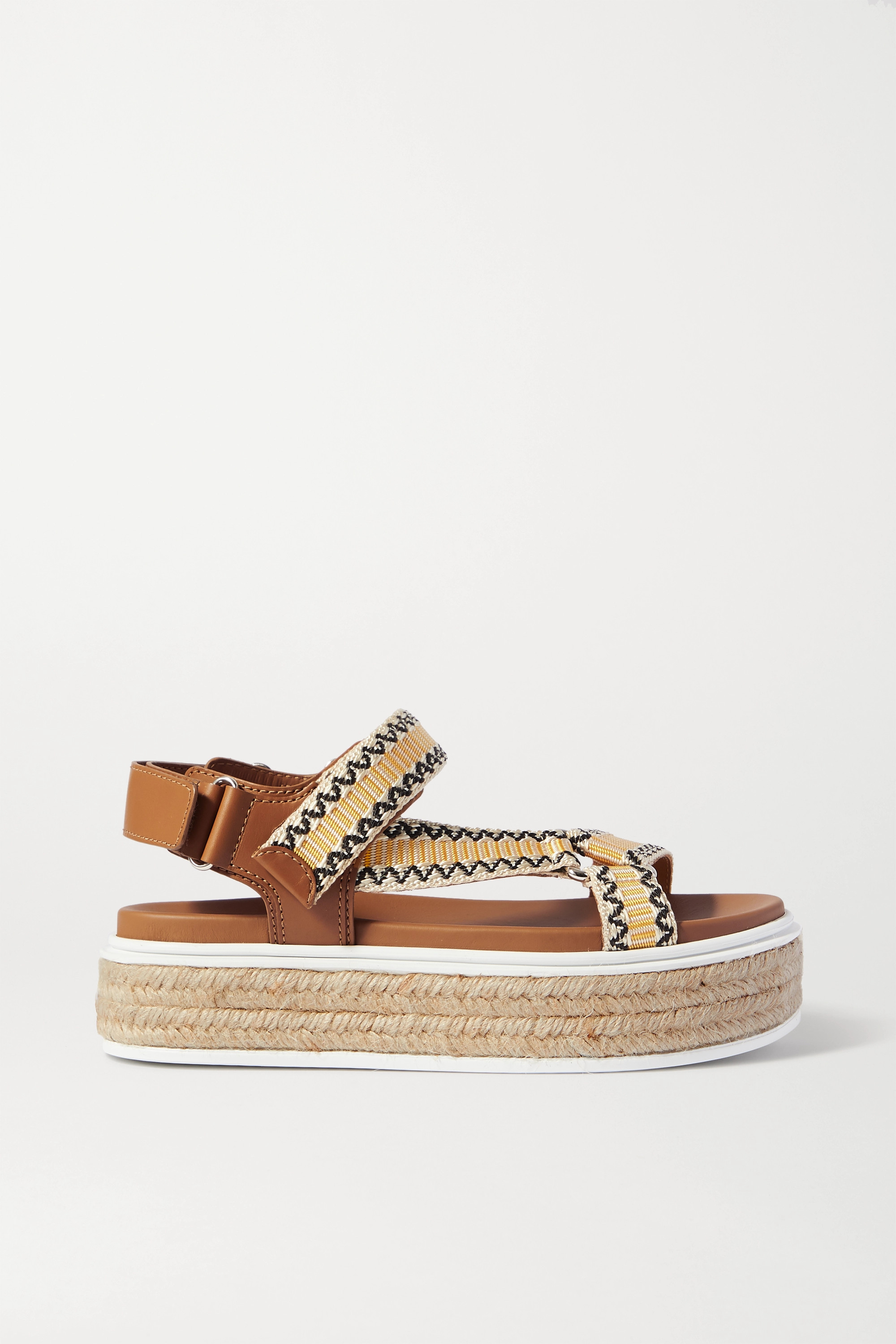 Prada Nomad embroidered canvas and leather espadrille sandals