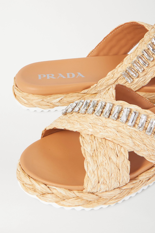 Beige Crystal-embellished Braided Raffia Slides | Prada