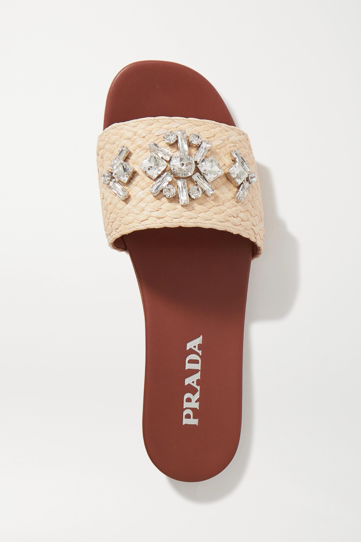 Prada Pantoletten aus Raffiabast mit Kristallen