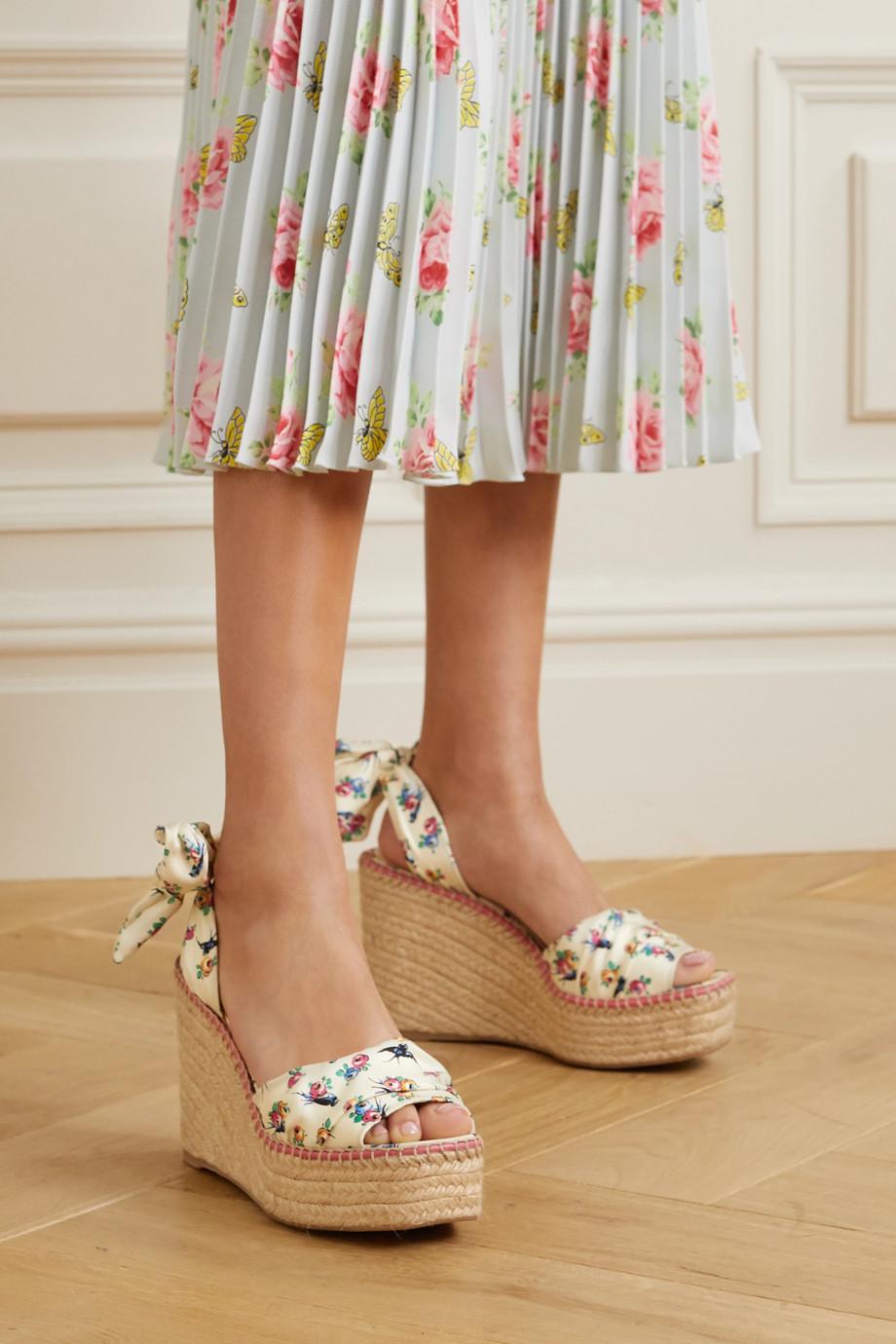 Prada Floral-print grosgrain espadrille wedge sandals