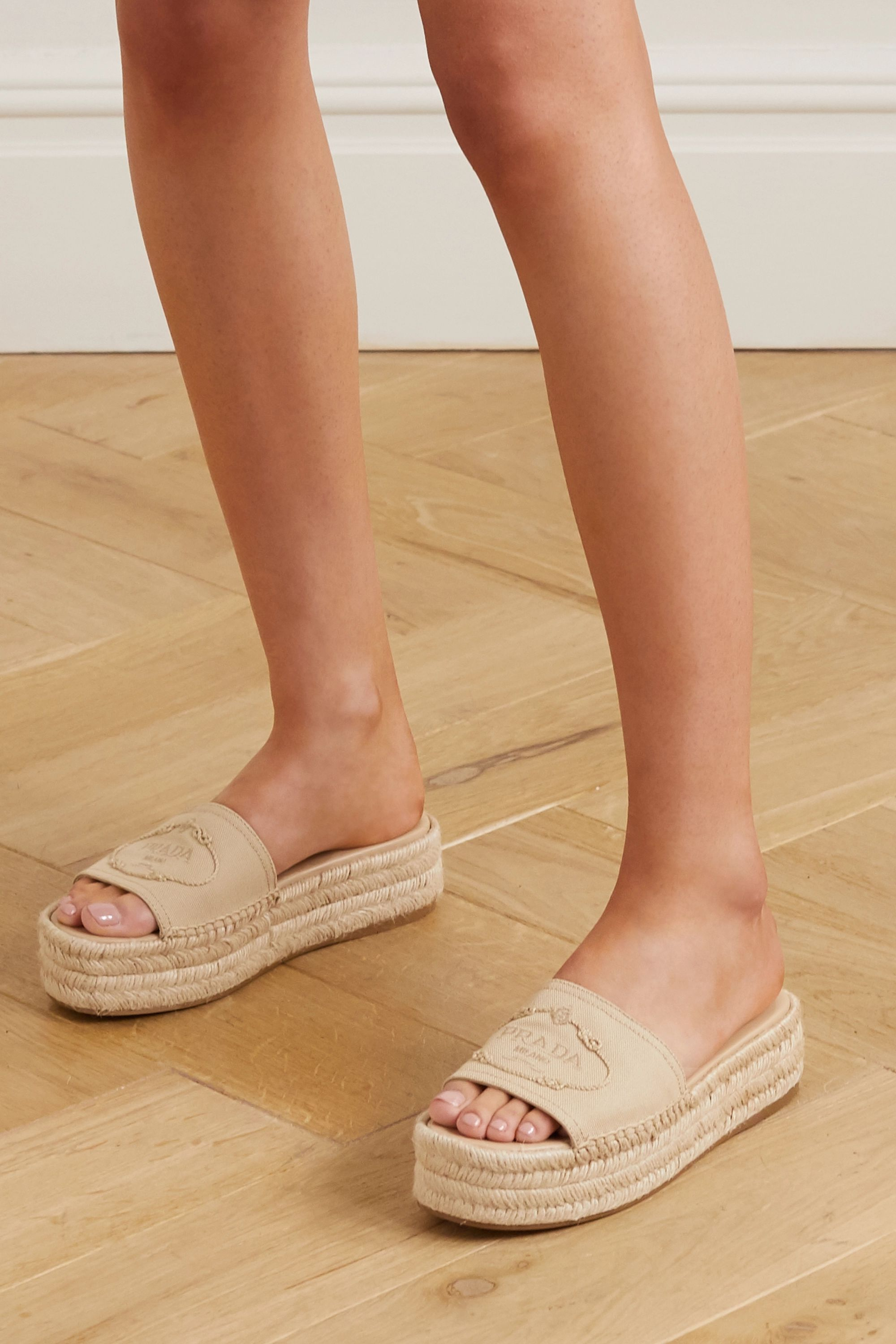 Neutral Logo-embroidered canvas wedge