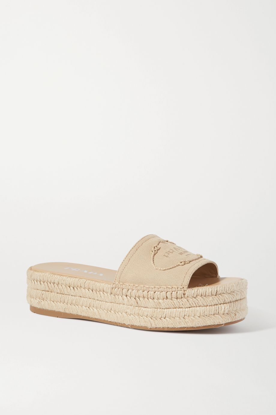 Prada Logo-embroidered canvas wedge espadrilles