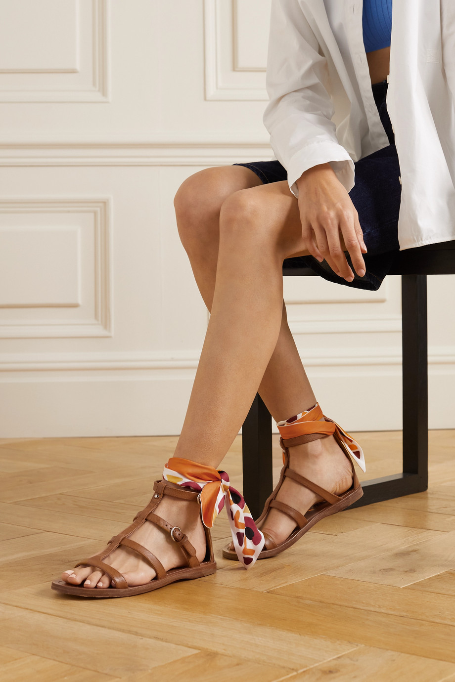 Prada Silk-trimmed leather sandals