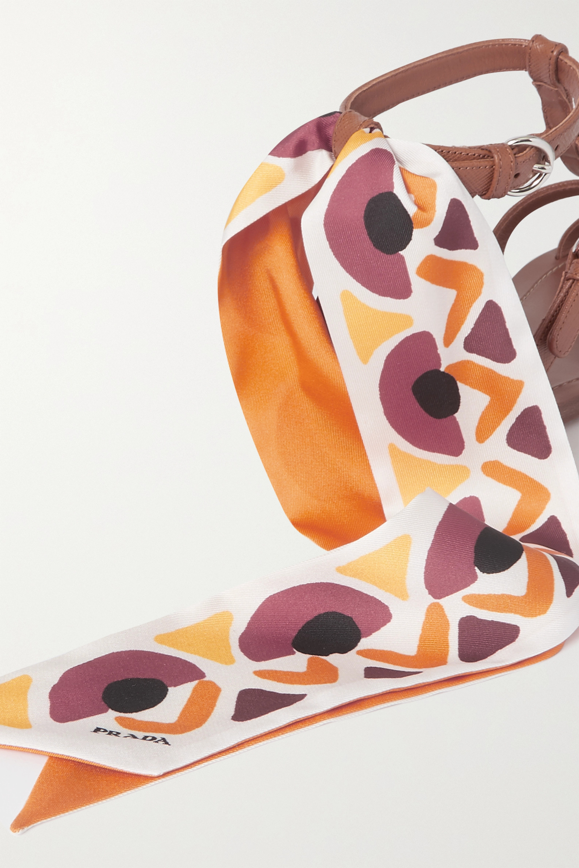 Prada Silk-trimmed leather sandals