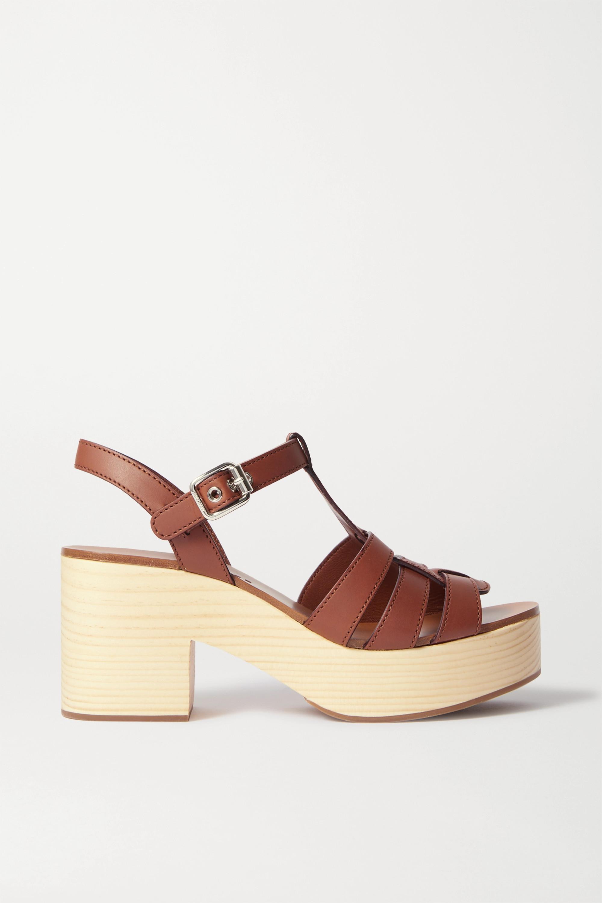 Tan Leather platform sandals | Miu Miu