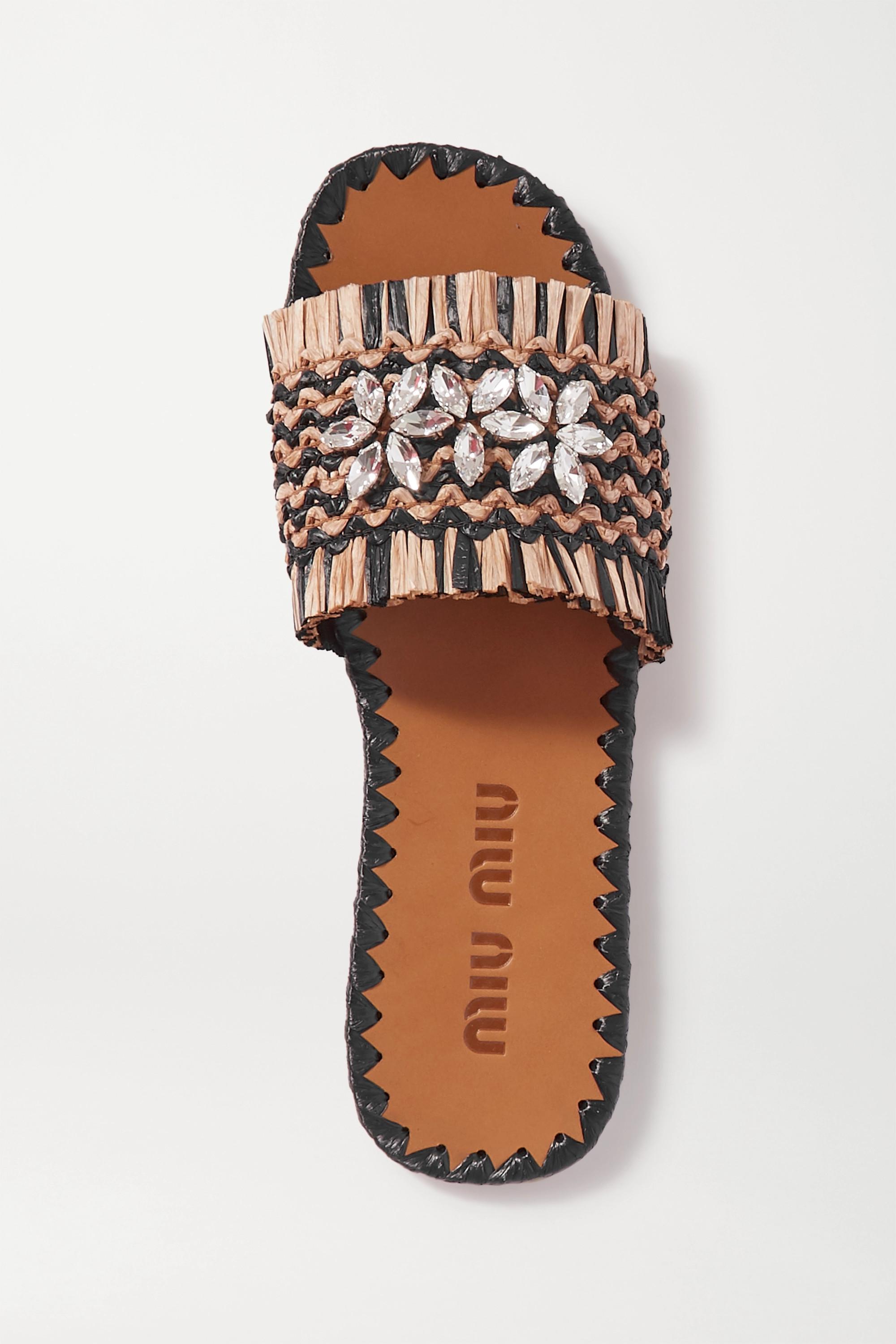 Miu Miu Pantoletten aus Raffiabast mit Fransen und Kristallen